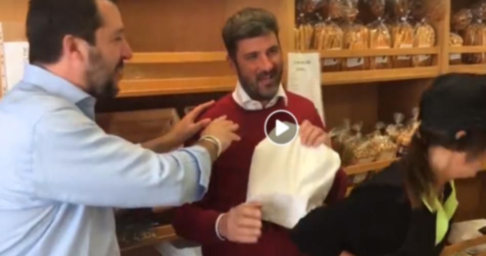 Salvini in un negozio del Mercato Cittadino di Tolmezzo - Friuli